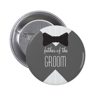 Father of the Groom Bowtie & Stripes 2 Inch Round Button