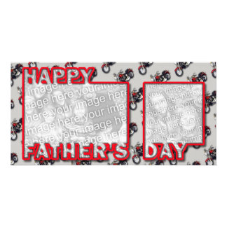 Fathers Day Cut Out ADD YOUR PHOTO Motorcycles Personalized Photo Card