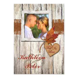 "FAUX Burlap, Wood, Leaves, Heart PHOTO Wedding 5"" X 7"" Invitation Card"