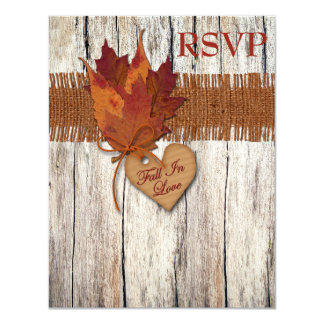 """FAUX Burlap Wood Leaves Heart Wedding Reply Card 4.25"""" X 5.5"""" Invitation Card"""