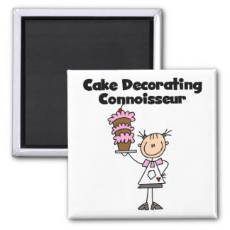 Female Cake Decorating Connoisseur Square Magnet