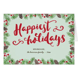 Festive Calligraphy   Folded Holiday Non-Photo Greeting Card