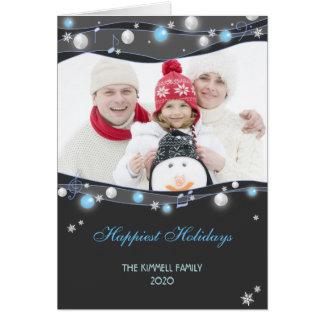 Festive Glittering Lights Christmas Family Photo Greeting Card