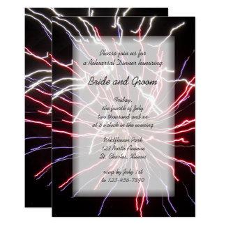 Feux d'artifice épousant l'invitation de dîner de carton d'invitation  12,7 cm x 17,78 cm