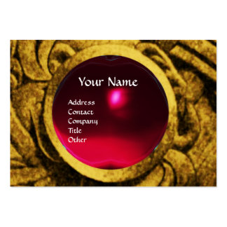 FIGHTING GRYPHONS MONOGRAM ,gold black red ruby Large Business Card