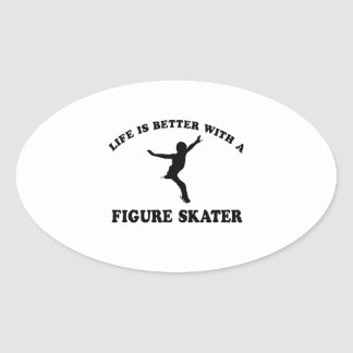 Figure Skating Vector Designs Oval Sticker