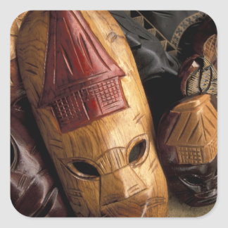 Fiji, Viti Levu Masks at a town market. Square Sticker