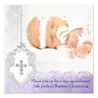 Fille blanche pourpre de croix de bijou de photo carton d'invitation  13,33 cm