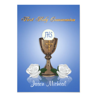First communion invitation Chalice on blue