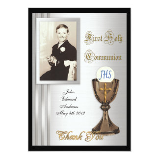 "First Communion Thank you card Photo 5"" X 7"" Invitation Card"