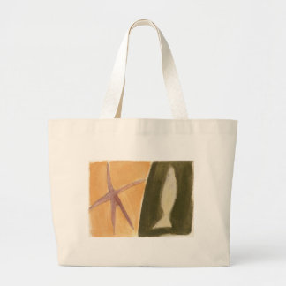 fish - starfish graphic design jumbo tote bag