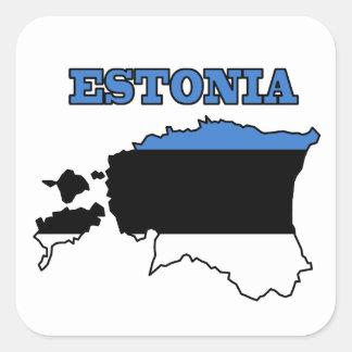 Flag in Map of Estonia Square Sticker