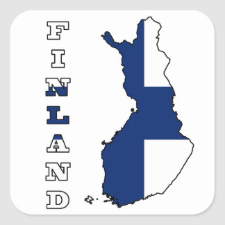 Flag in Map of Finland Square Sticker
