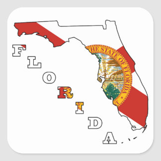 Flag in Map of Florida Square Sticker