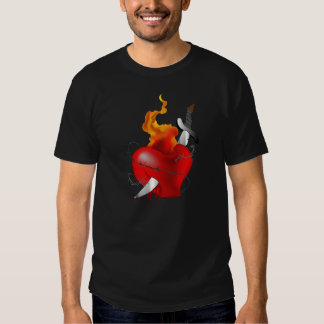 Flaming Tattoo Heart with Sword Shirt