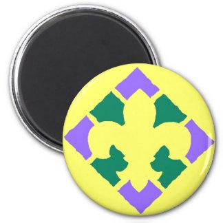 Fleur De Lis Yellow 2 Inch Round Magnet