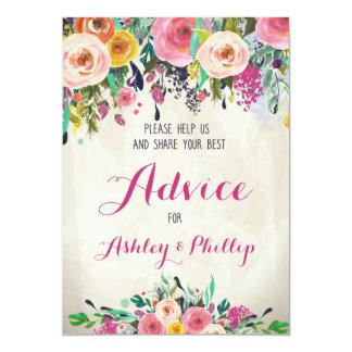"Floral Bridal Shower Advice Cards 5"" X 7"" Invitation Card"