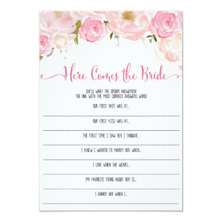 """Floral Bridal Shower here Comes the bride Game 5"""" X 7"""" Invitation Card"""