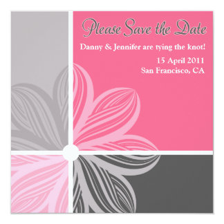 Floral Sweep Pink Gray Please Save the Date Invite