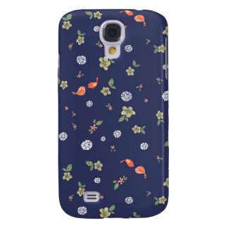Floral with Birdies on Blue