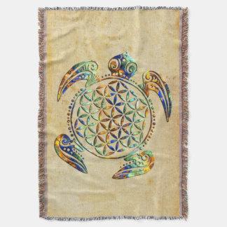 Flower of Life / Blume des Lebens - turtle colored Throw Blanket