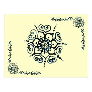 Flower Of Love (Henna) (Blue) Postcard