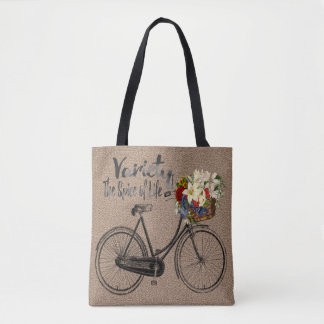 Flower tote bag Variety the spice of life bike