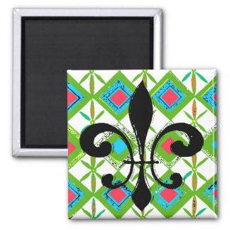 Flowers Abstract, Black  Fleur De Lis Square Magnet