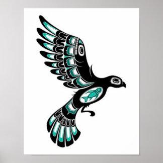 Flying Teal Blue and Black Haida Spirit Bird Poster