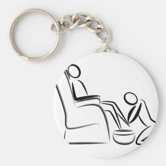 Foot Massage Stick Figure Basic Round Button Keychain