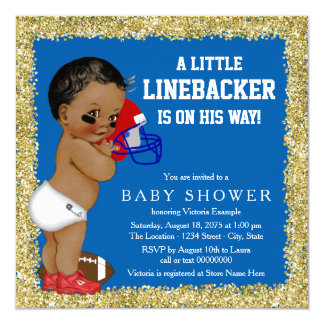 """Football Baby Shower 5.25"""" Square Invitation Card"""