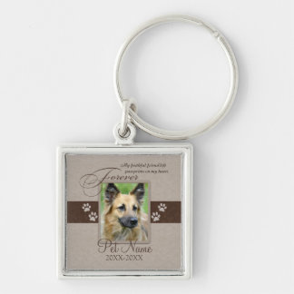Forever Loved Pet Sympathy Silver-Colored Square Keychain