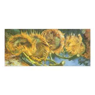 "Four Cut Sunflowers by Vincent van Gogh, Fine Art 4"" X 9.25"" Invitation Card"