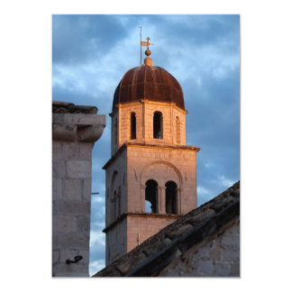 "Franciscan Monastery Tower at Sunset 5"" X 7"" Invitation Card"