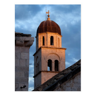 Franciscan Monastery Tower at Sunset Postcard