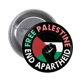Free Palestine End Apartheid Flag Fist Black 2 Inch Round Button