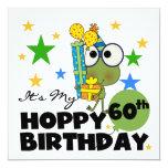 "Froggie Hoppy 60th Birthday 5.25"" Square Invitation Card"