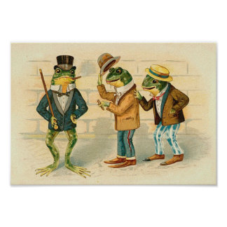 Frogs on the Street - Vintage Art  Poster