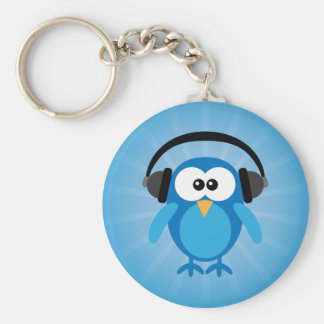 Funky Blue Retro Owl With Headphones Basic Round Button Keychain