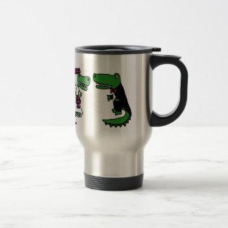 Funny Alligator Bride and Groom Cartoon 15 Oz Stainless Steel Travel Mug