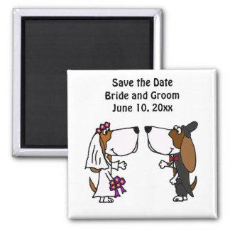 Funny Basset Hound Bride and Groom Wedding Square Magnet
