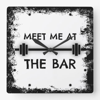 Funny Fitness Quote: Meet me at the Bar Wallclocks