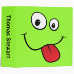 Funny goofy smiley sticking out his tongue binder
