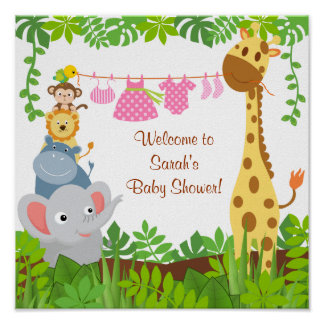 Funny Jungle Baby Animals Baby Shower Poster