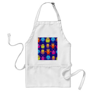 Funny Monster Party Cute Creatures on Blue Standard Apron