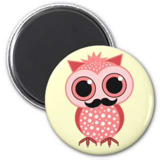 funny owl with mustache 2 inch round magnet