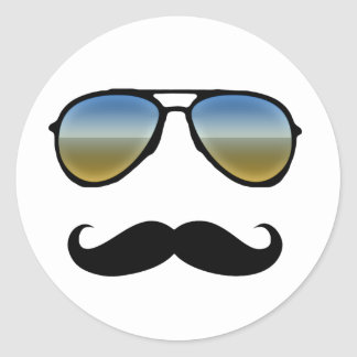 Funny Retro Sunglasses with Moustache Round Sticker