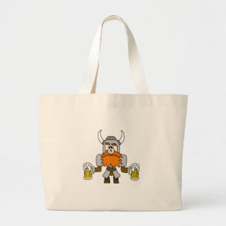 Funny Viking with Beer and Fly On Nose Jumbo Tote Bag
