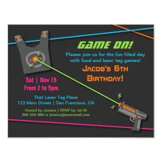 "Game On Fun Laser Tag Birthday Party 4.25"" X 5.5"" Invitation Card"