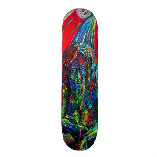 Gargoyle Sci Fi Winged Creature Oil Paint Colorful Skate Deck